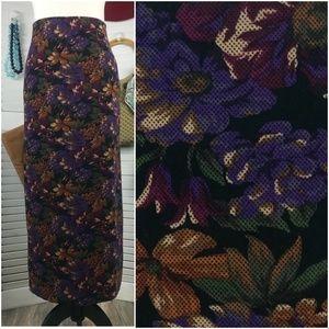 Vintage Briggs Faux Suede Dark Floral Skirt
